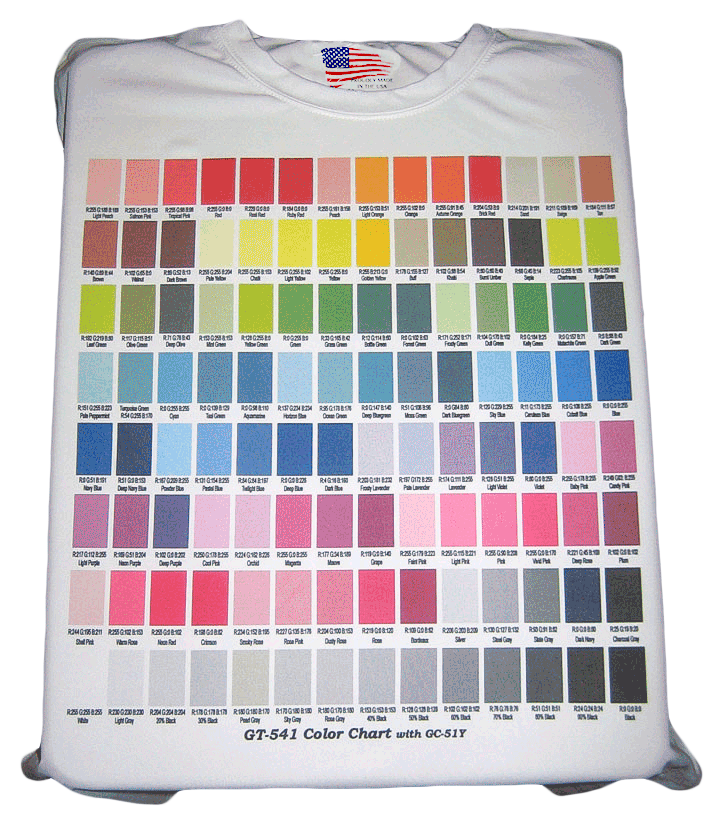 Color Chart T Shirt Direct To Garment Vinyl De Signs Inc